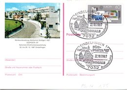 """BRD Amtl. GZS-Sonderpostkarte PSo 14 """"SÜDPOSTA'87"""" WSt """"EUROPA"""" ESSt 22.10.87 SINDELFINGEN 1 - BRD"""