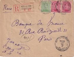BELGIQUE 1918 LETTRE RECOMMANDEE DES POSTES MILITAIRES POUR PARIS - 1915-1920 Alberto I