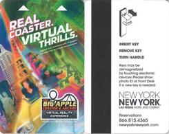 New York New York Real Coaster Virtual Thrills---2450---   Key Card, Room Key, SchLusselkarte, NEW -- 2447 - Cartes D'hotel