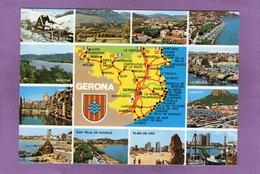 GERONA Postal Geographica Multivues - Escudo De Armas - Gerona