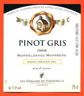 étiquette Vin Pinot Gris 1998 Moselle Luxembourgeoise Worlmeldange Mohrberg Domaines De Vinsmoselle- 75 Cl - White Wines