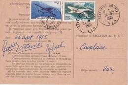 FRANCE 1965 ORDRE DE REEXPEDITION TEMPORAIRE DU COURRIER DE CAVALAIRE - Marcophilie (Lettres)