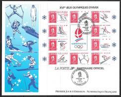 FRANCE BF14 Premier Jour FDC Grand Format Jeux Olympiques D'hiver D'Albertville 1992 Cote 25 €. - FDC