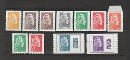 FRANCE / 2018 / Y&T N° AA 1594/1604 ** : Marianne L'engagée (adhésifs Feuille + Roulette) 11 TP = Complet - Neufs ** - Adhesive Stamps