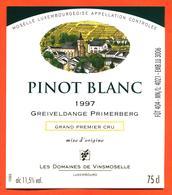 étiquette Vin Pinot Blanc 1997 Moselle Luxembourgeoise Greiveldange Primerberg Vinsmoselle - 75 Cl - White Wines