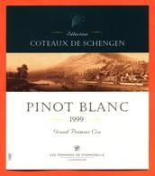 étiquette Vin Pinot Blanc 1999 Moselle Luxembourgeoise Coteaux De Schengen Vinsmoselle - 75 Cl - White Wines