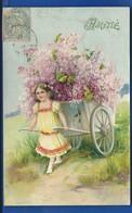 Petite Fille  Tirant  Un Chariot De Fleurs  Amitié   écrite En 1905 - Auguri - Feste