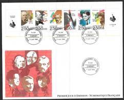 FRANCE BC2753 Premier Jour FDC Grand Format Personnages Célèbres Musiciens 1992 Cote 15 €. - FDC