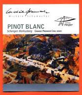 étiquette Vin Pinot Blanc 2001 Michèle Schumacher Schengen Markusberg Vinsmoselle - 75 Cl - White Wines