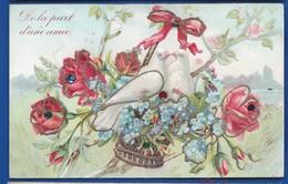Carte Gauffrée   Touterelles Panier De Fleurs  De La Part D'une Amie    écrite En 1905 - Auguri - Feste
