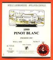 étiquette Vin Pinot Blanc 1999 Moselle Luxembourgeoise Caves De Greiveldange- 75 Cl - White Wines