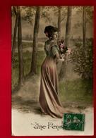 Jolie CP Ancienne Colorisée Une Pensée - Femme Fleurs Forêt ... - - Fêtes - Voeux