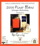 étiquette Vin Pinot Blanc 2000 Moselle Luxembourgeoise Schengen Markusberg  Hotel Eden Au Lac Vinsmoselle- 75 Cl - White Wines