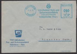 """Schlotheim Germany DDR AFS 31.3.60 """"VEB Schlotheinmer Neitz- U. Seilwarenfabrik VVB Bastfaser"""" Logo Sponeta, Netze - Dienstpost"""