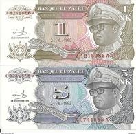 ZAIRE 1-5 NOUVEAU LIKUTA 1993 UNC P 47-48  (  2 Billets ) - Zaïre