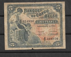 Belgian Congo Kongo 5 Fr 1949 Vg+ Elephant Hypo - Billets