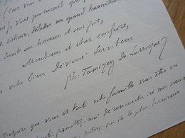 Philippe TAMIZEY DE LARROQUE (1828-1898) Erudit. MAJORAL FELIBRIGE. Gontaud De Nogaret. AUTOGRAPHE - Autographs