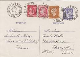 France Entier Postal Luxeuil Les Bains Pour La Suisse 1946 - Cartes Postales Types Et TSC (avant 1995)