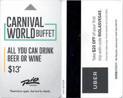 Rio Las Vegas Carnival World Buffet --2476---   Key Card, Room Key, SchLusselkarte, NEW -- 2447 - Cartes D'hotel