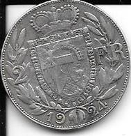 2 Franken Liechtenstein 1924 (tirage 8293 Ex.) Ttb Argent - Liechtenstein