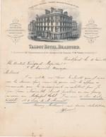 Royaume Uni Facture Lettre Illustrée 17/2/1899 TALBOT Hotel BRADFORD - United Kingdom