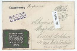 ESPERANTO - Vignette IV Internacia Esperantista Kongresso Dresden 16-22 Aug. 1908 Sur Carte De Dresden Kunstakademie Mit - Esperanto