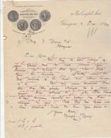 Royaume Uni Facture Lettre Illustrée 2/12/1886 WRIGHT & GREIG Scotch Whisky GLASGOW - Royaume-Uni