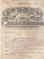 Royaume Uni Facture Lettre Illustrée 4/3/1907 JAMES AINSLIE Highland Malt Distillers And Blenders LEITH Scotland - Royaume-Uni