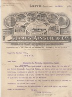 Royaume Uni Facture Lettre Illustrée 4/3/1907 JAMES AINSLIE Highland Malt Distillers And Blenders LEITH Scotland - United Kingdom