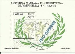"""Polen Block 104,""""Internationale Briefmarkenausstellung Olymphilex'87-RZYM """" Gestempelt Mi.:1,20 € - Blocs & Feuillets"""