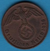 DEUTSCHES REICH  2 REICHSPFENNIG 1938 B KM# 90 (svastika) - 2 Reichspfennig