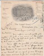 Royaume Uni Facture Lettre Illustrée 1/12/1905 The GRAND HOTEL BIRMINGHAM - Royaume-Uni