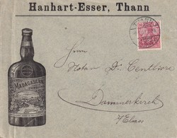 ALSACE-LORRAINE 1902 LETTRE ILLUSTREE DE THANN POUR DAMMERKIRCH - Poststempel (Briefe)