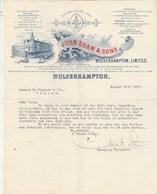 Royaume Uni Facture Lettre Illustrée 26/8/1907 JOHN SHAW & Sons WOLVERHAMPTON - Royaume-Uni