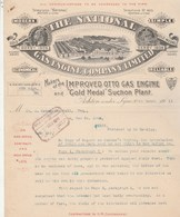 Royaume Uni Facture Lettre Illustrée 27/3/1911 The National Gas Engine Company ASHTON Under LYNE - United Kingdom