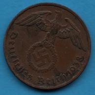 DEUTSCHES REICH  2 REICHSPFENNIG 1938 F KM# 90 (svastika) - [ 4] 1933-1945 : Troisième Reich