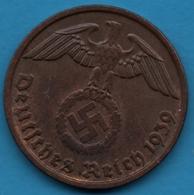 DEUTSCHES REICH 2 REICHSPFENNIG 1939 D KM# 90 (svastika) - [ 4] 1933-1945 : Troisième Reich