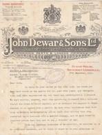 Royaume Uni Facture Lettre Illustrée 17/12/1927 JOHN DEWAR & Sons Scotch Whisky Distillers PERTH & LONDON - Royaume-Uni