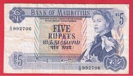 Mauritius  -  5 Rupees  -  Pick # 30c  -  état  TB - Maurice