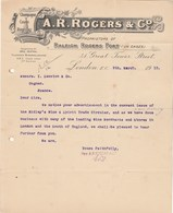 Royaume Uni Facture Lettre Illustrée 9/3/1912 A R ROGERS Proprietors Ol Raleigh Rogers Port - Champagne Cuvée  LONDON - United Kingdom