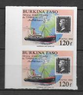 1990 - BURKINA FASO - YT N°817 En PAIRE NON DENTELES (RARE) - BATEAUX + 150 ANS DU TIMBRE - Burkina Faso (1984-...)