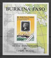 1990 - BURKINA FASO - YT N°BF37 NON DENTELE (RARE) - BATEAUX + 150 ANS DU TIMBRE - Burkina Faso (1984-...)
