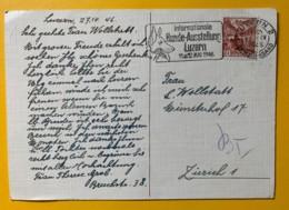 8079 - Flamme Internationae Hund-Ausstellung Luzern 1946 Sur Carte Postale - Dogs
