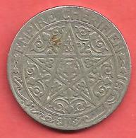 1 Franc , MAROC , EMPIRE CHERIFIEN  , Nickel , 1921 , N° KM # 36.1 - Colonies