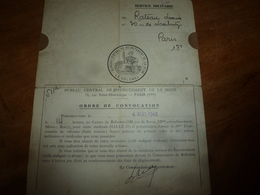 4 Mai 1940  Ordre De CONVOCATION De Mr Rateau Louis , Au Bureau De Recrutement - Documents