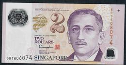 SINGAPORE  P46k 2 DOLLARS  2017 #6RT  2 Hollow Stars  VF - Singapore