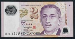 SINGAPORE  P46h 2 DOLLARS  2017 #6QE  1 Hollow Star  XF NO P.h. - Singapore