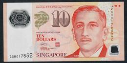 SINGAPORE  P48a 10 DOLLARS  2008 #2GH  NO Symbol  VF NO P.h. - Singapore