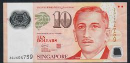 SINGAPORE  P48e 10 DOLLARS  2011 #3GJ 2 Triangles VF NO P.h. - Singapour