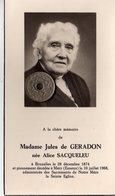 Madame Jules De Geradon Née Alice Sacqueleu à Bruxelles 1874 Décédée à Méry Esneux 1968 - Todesanzeige